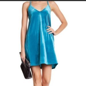 Abound NWT velvet blue racer back mini dress M